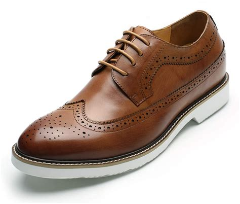 Mens Height Increasing Elevator Shoes 2.56'' Taller Dress Brogue Shoes DX60B06-1