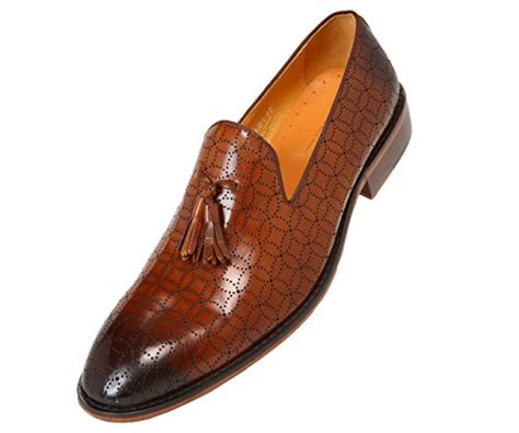 Mens Laser Designed Leather Tassel Smoking Slipper, Slip on Loafer Dress Shoe, Style AG2831