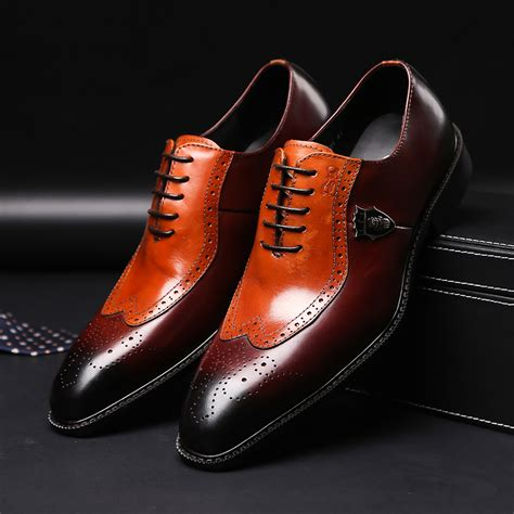 Mens Leather Classic Oxford Lace up Shoes Formal Dress Shoes