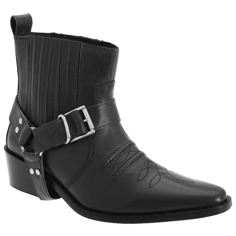 Mens Low Clive Leather Western Ankle Boots