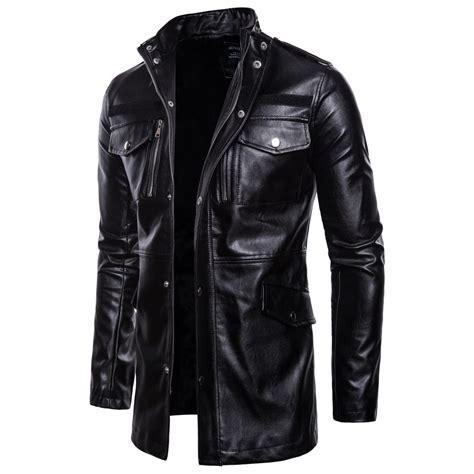 Mens Stand Collar Leather Jacket