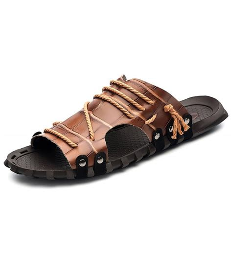 Mens Summer Leather Size Plus Sandals Open Toe Slip on Outdoor Indoor Fisherman Slippers