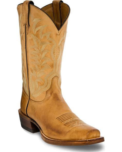 Mens Tan Cowboy Boots Leather Cowboy Boots Square Toe