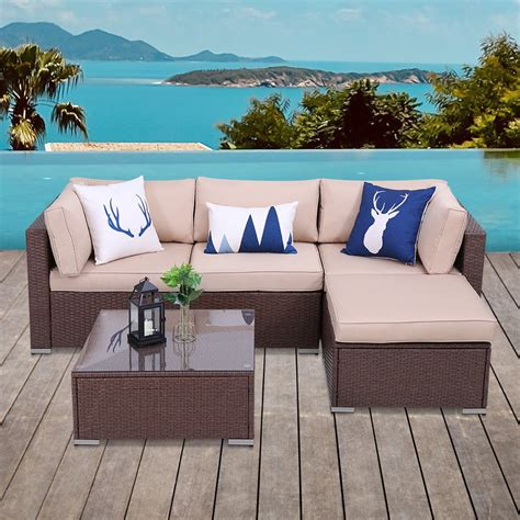 Merge 6 Piece Rattan Sectional Set With Cushions