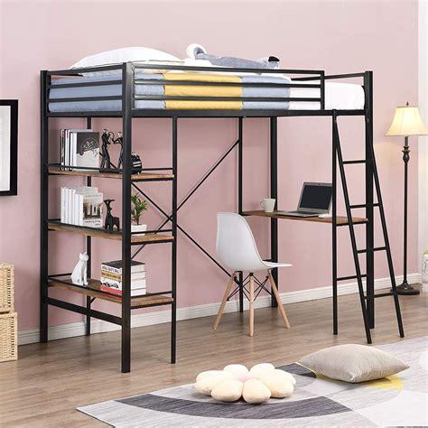Metal-Frame-Loft-Bed-With-Desk