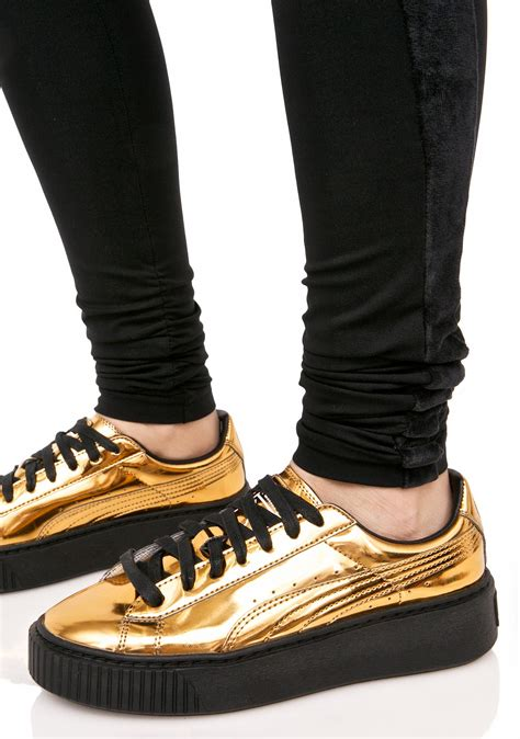 Metallic Gold Puma Sneakers