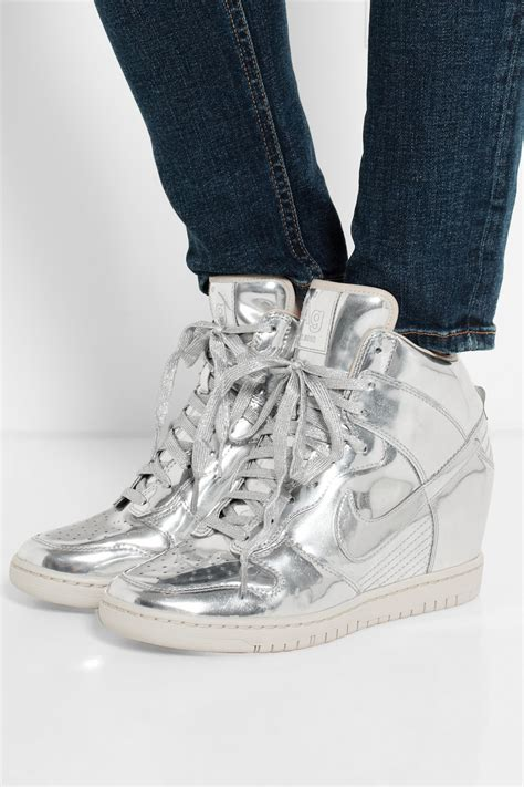 Metallic Silver Nike Wedge Sneakers