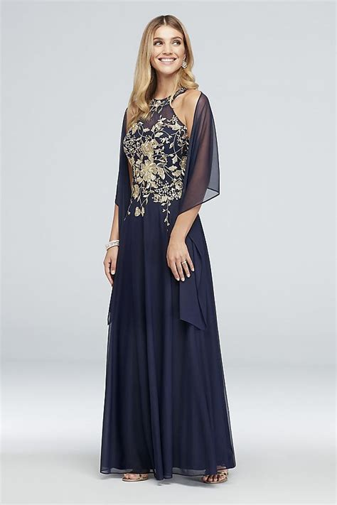 Metallic Embroidered Jersey Chiffon Halter Dress
