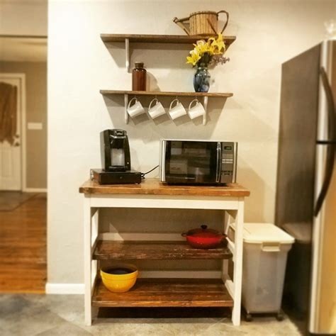 Microwave Table Diy With Shelf