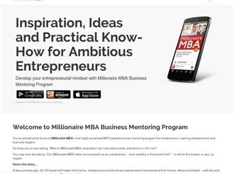 [click]millionaire Mba Business Mentoring Program - Mp3 Pdf Download Video Sample.