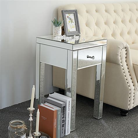 Mirror End Table With Drawers