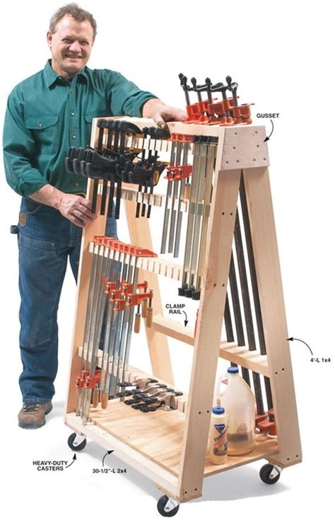 Mobile Woodworking Rolling Clamp Rack Plans
