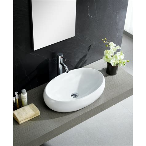 Modern Vitreous China Oval Vessel Bathroom Sink By Fine Fixtures