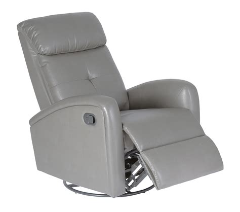 Monarch Recliner Swivel Glider Charcoal Grey Bonded Leather