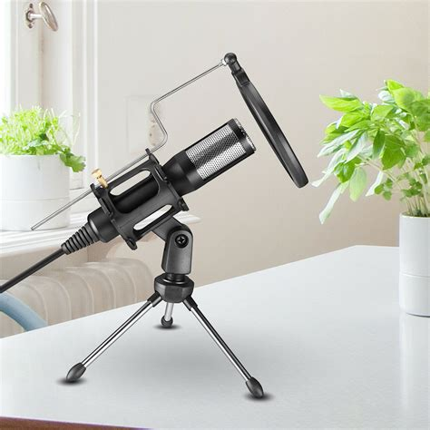MonkeyJack Computer Condenser Microphone with Stand for Gaming Studio Recording & Broadcasting PC Laptop