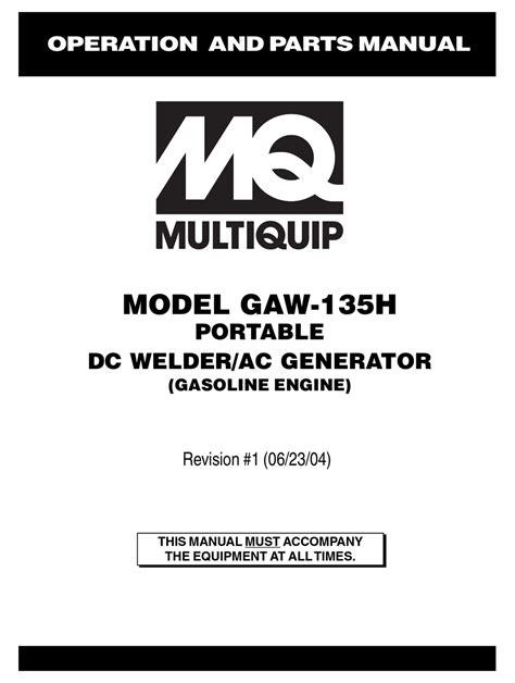 Multiquip GAW-135H Manual pdf manual