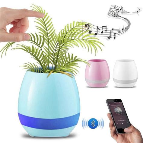 Music Flower Pot Shape Smart LED Wireless Speaker - Pink