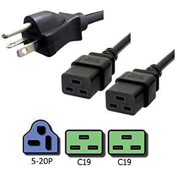 NEMA 5-20P to 2x C13 Y Splitter Cord - 8 Foot, 15A, 125V, 14/3 AWG - Iron Box # IBX-2717-08