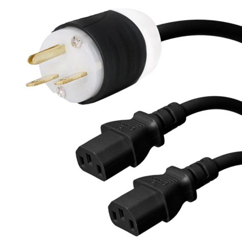 NEMA 6-15P to 2x C19 Y Splitter Cord - 3 Foot, 15A/250V, 14/3 AWG - Iron Box # IBX-2729-03