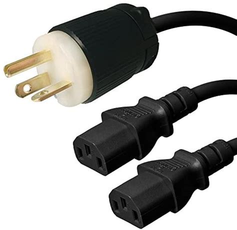NEMA L6-15P to 2x C19 Y Splitter Cord - 6 Foot, 15A/250V, 14/3 AWG - Iron Box # IBX-2111-06
