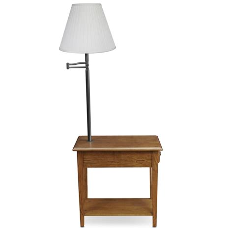 Narrow End Table With Attached Lamp