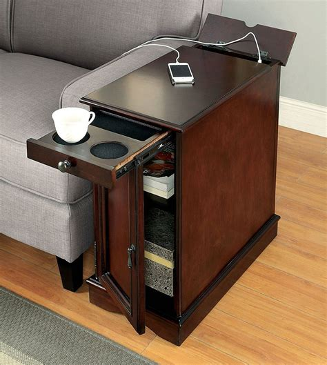 Narrow End Table With Storage And Usb Port