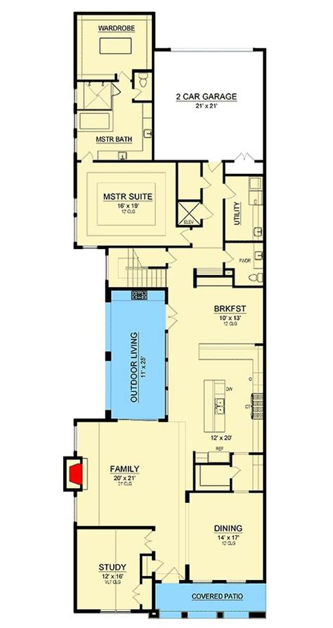 Narrow Home Plans With Elevators