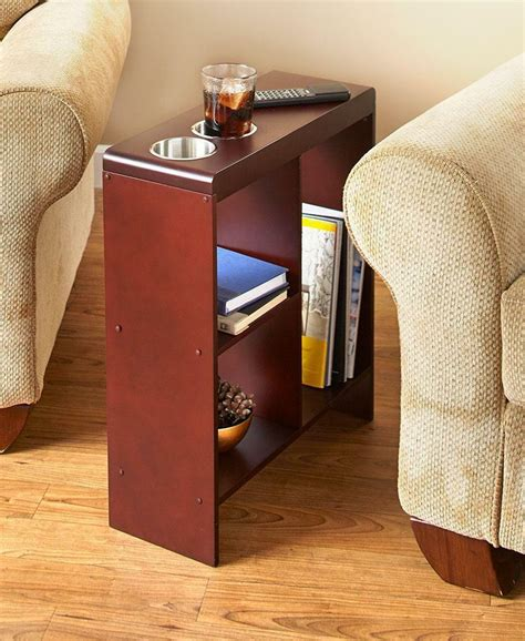 Narrow Side Table With Cup Holder