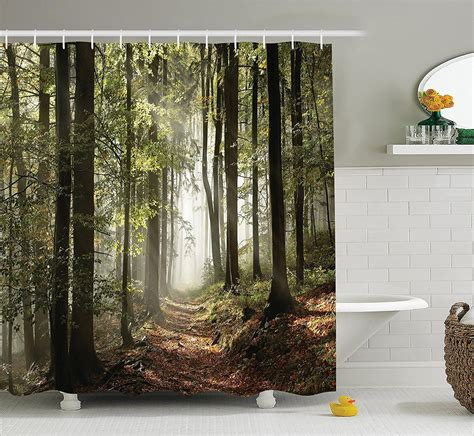 Nature Ancient House In Forest Shower Curtain Set