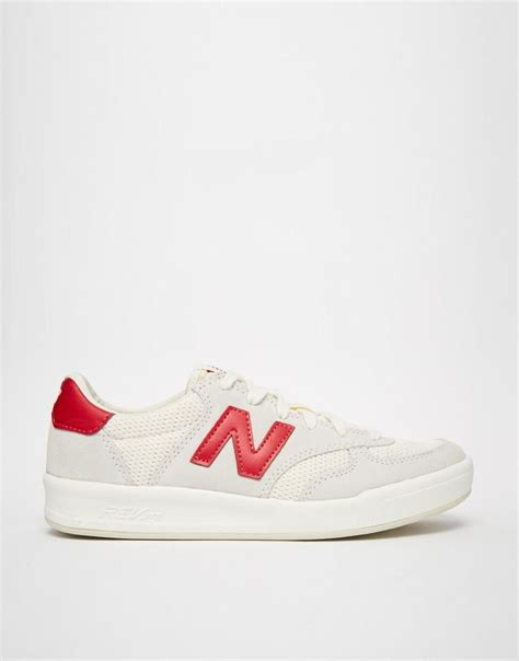 New Balance 300 White Red Suede Sneakers