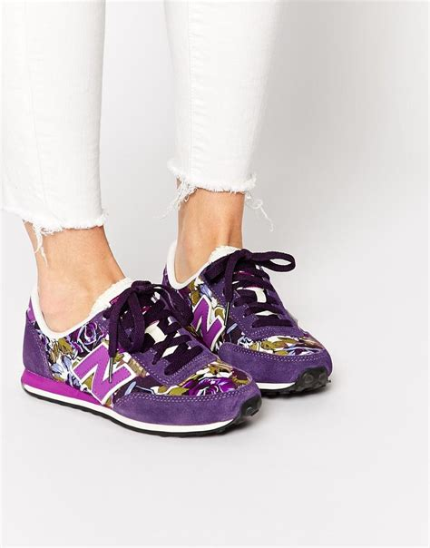 New Balance 410 Purple Floral Suede Canvas Sneakers
