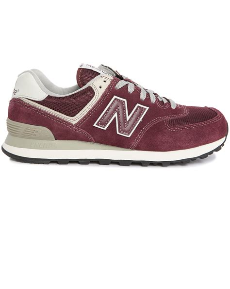 New Balance 574 Suede And Mesh Burgundy Sneakers
