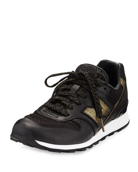 New Balance Embossed Leather Sneaker Black Gold