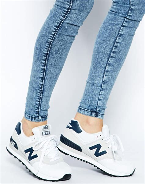 New Balance White Suede And Canvas 574 Sneakers