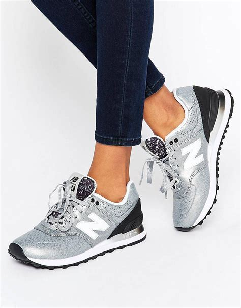 New Balance Womens 574 Sneakers Gradient Silver Black Wl574rac