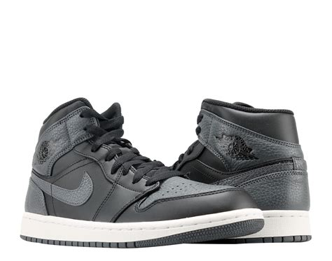 Nike Men's Air Jordan 1 Mid Basketball Shoe Cool Black/White-White 13