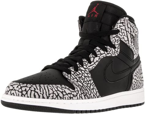 Nike Mens Air 1 Retro High Elephant Print Black/Gym Red-Cement Grey Leather Size 10.5
