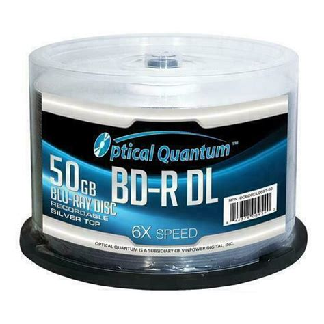 OPTICAL QUANTUM OQBDRDL06ST-50 50GB Write Once 6X BD-R DL Dual Layer Silver Top - 50 PK