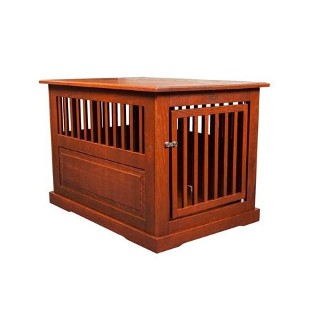 Oak End Table Dog Crate