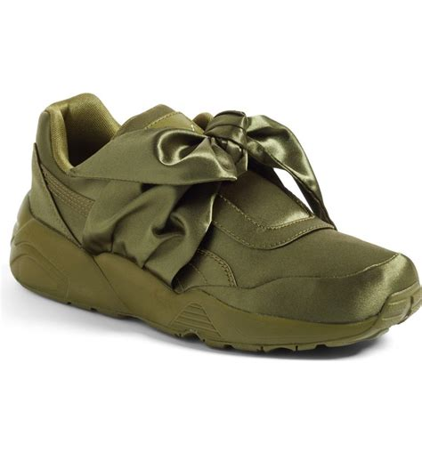 Olive Green Puma Bow Sneakers