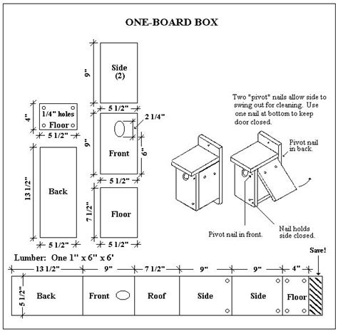 One Board Birdhouse Plans