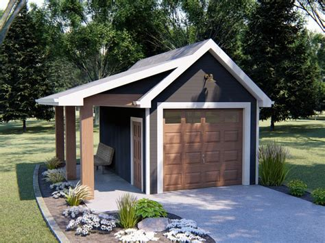 One Car Garage Plans With Covered Porch