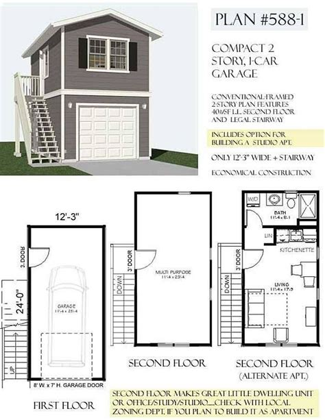 One Story 3 Car Garage Apartment Floor Plans