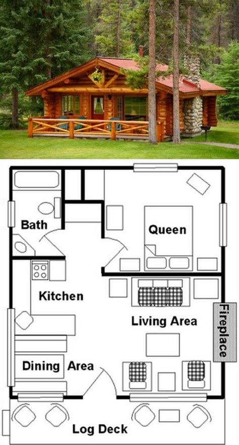 One-Bedroom-Small-Log-Cabin-Plans-Free