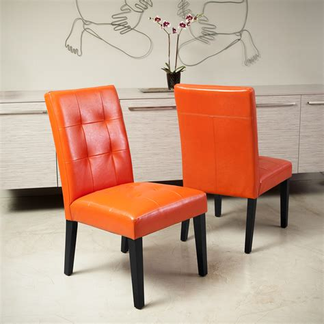 Orange Leather Chairs Dining
