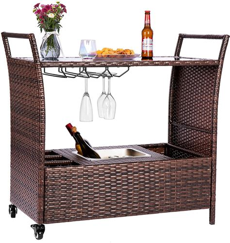 Outdoor Bar Cart With Ice Bucket