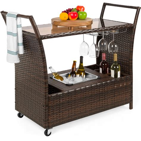 Outdoor Bar Cart With Storage