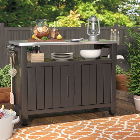 Outdoor Buffet Table Serving Cart