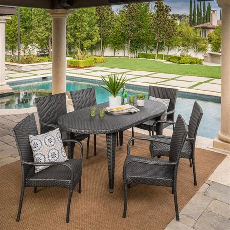 Outdoor Dining Set Stackable Chairs