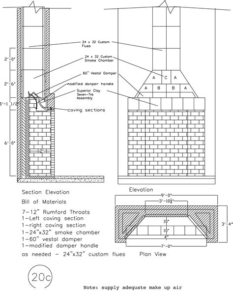 Outdoor Fireplace Chimney Plans Floor